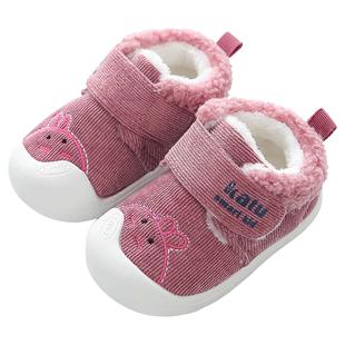 婴儿女宝宝加绒0-1一2岁学步鞋