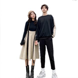 情侶裝秋裝2020新款寬鬆小眾設計感衞衣ins潮 港風秋冬季連衣裙