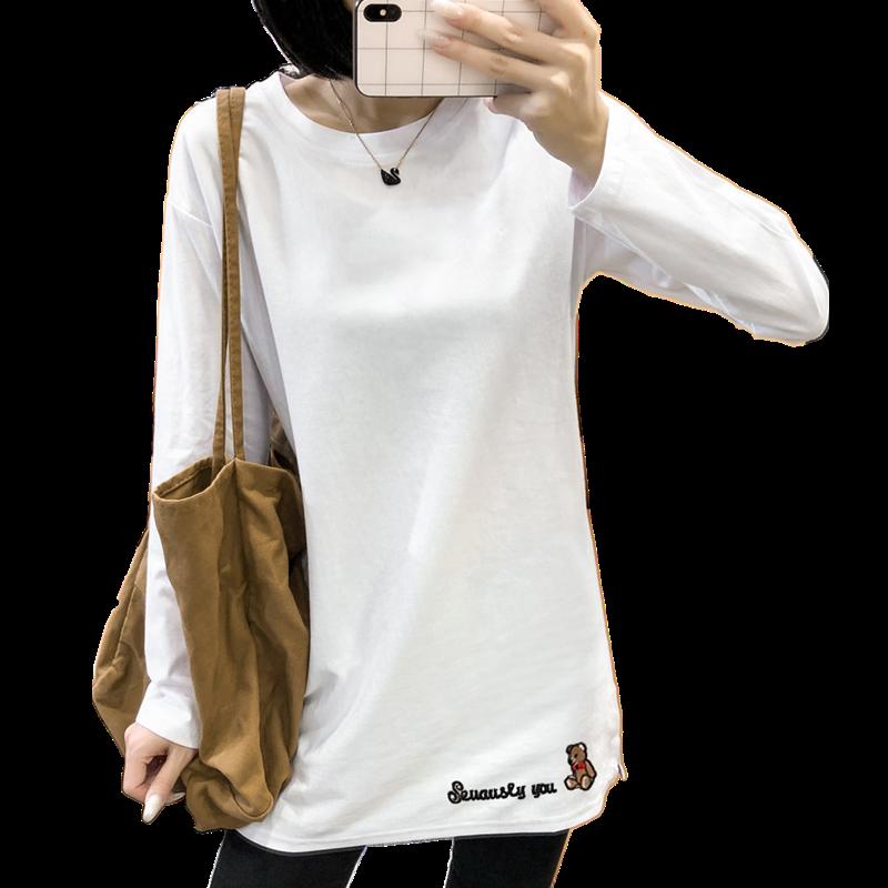 2020年新款长袖t恤女装上衣ins潮秋冬季白色宽松内搭打底衫中长款