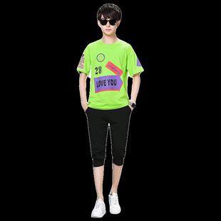 青少年夏季套裝男潮流帥氣初中高中學生胖大童夏裝男孩子短袖t恤