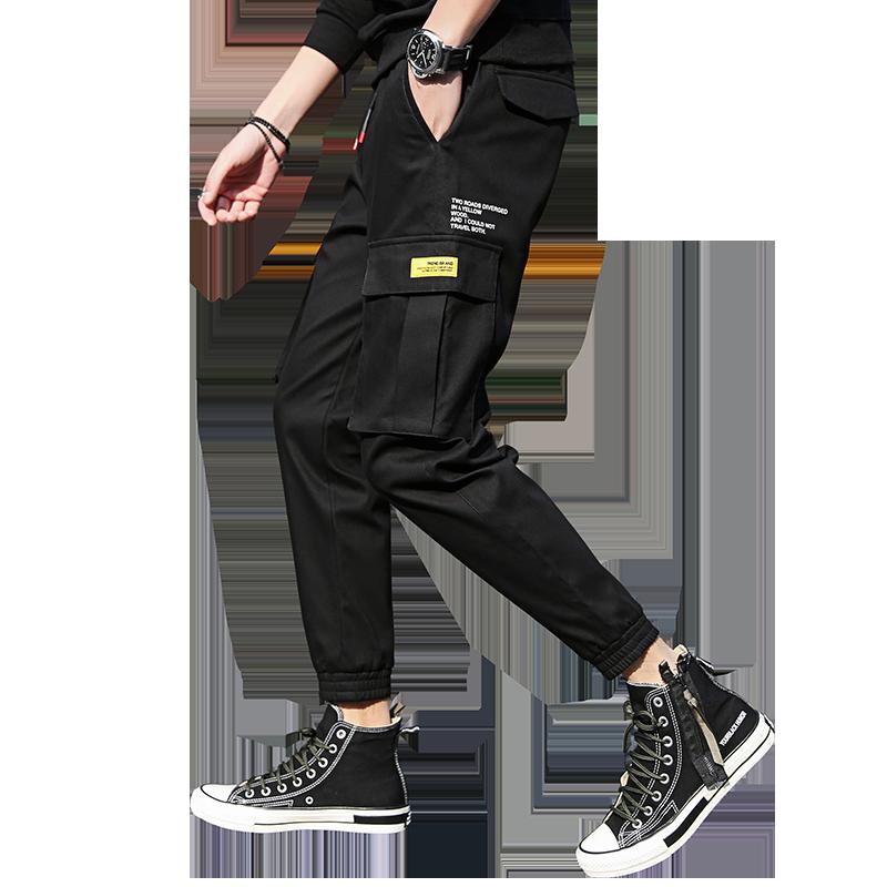 【潮人必备】纯棉束脚修身工装裤