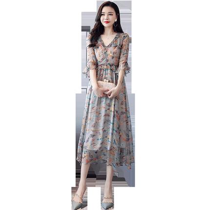 很仙的雪纺2019新款夏流行仙女裙