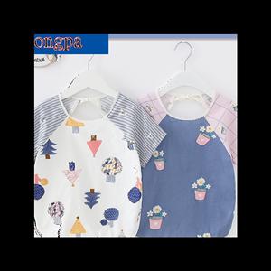 夏季宝宝纯棉罩衣防水短袖婴幼儿童反穿衣无袖围兜男女孩吃饭护衣