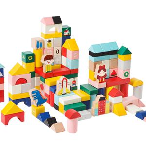 imikids儿童积木玩具大颗粒宝宝木头1-2-3岁恐龙交通男女孩益智