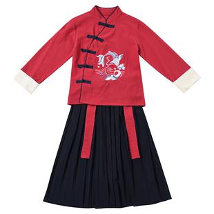兒童古裝漢服國學服男童朗誦書童服裝男孩民國風女童三字經演出服