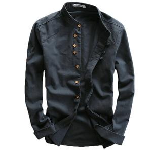 中国风亚麻男士圆领修身立领衬衫