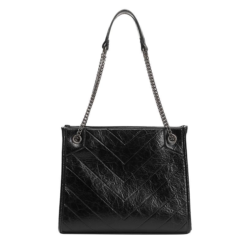 UR大容量包包女2021新款托特包链条单肩包时尚菱格绣线通勤风女包
