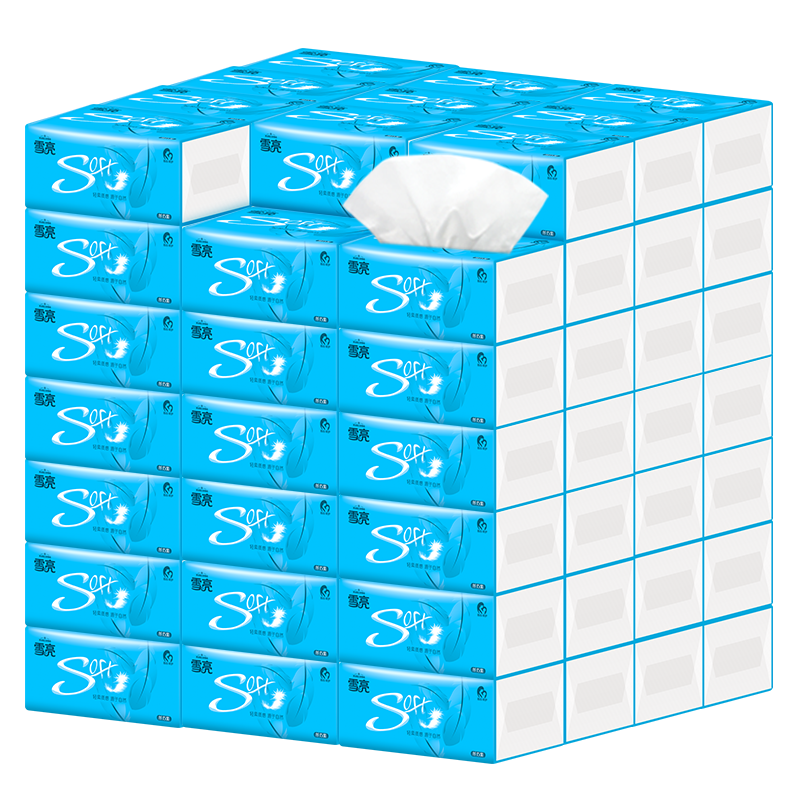 抽纸批发整箱30包雪亮家庭装婴儿卫生纸巾家用餐巾纸面巾纸实惠装
