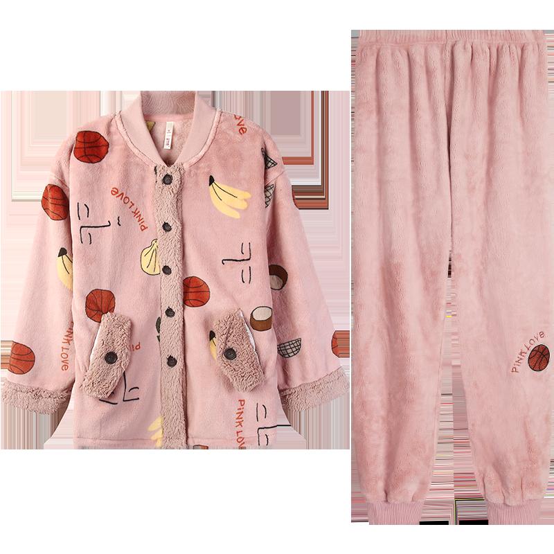 冬季开衫长袖珊瑚绒睡衣女士秋冬款套装加厚加绒法兰绒冬天家居服