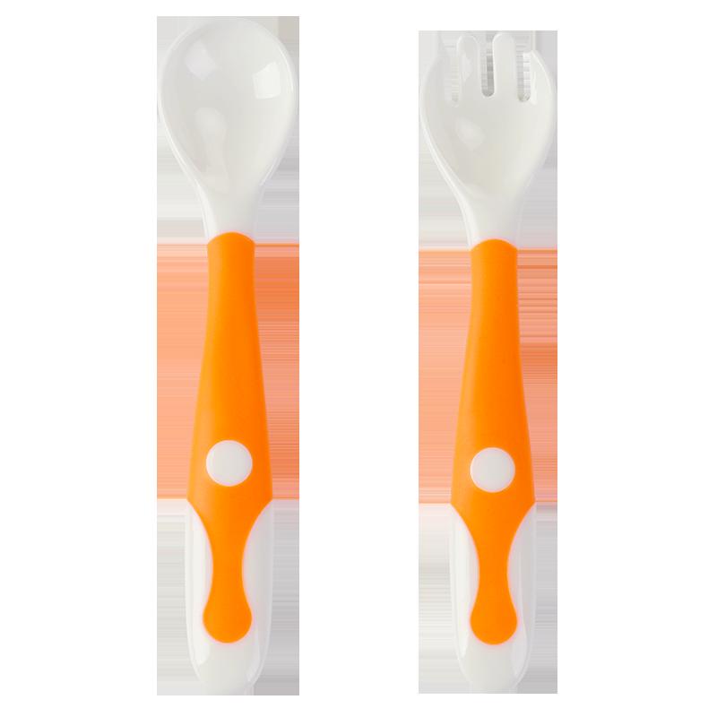 婴儿学吃饭训练勺子可弯曲宝宝弯弯勺儿童硅胶喂饭勺神器叉勺套装