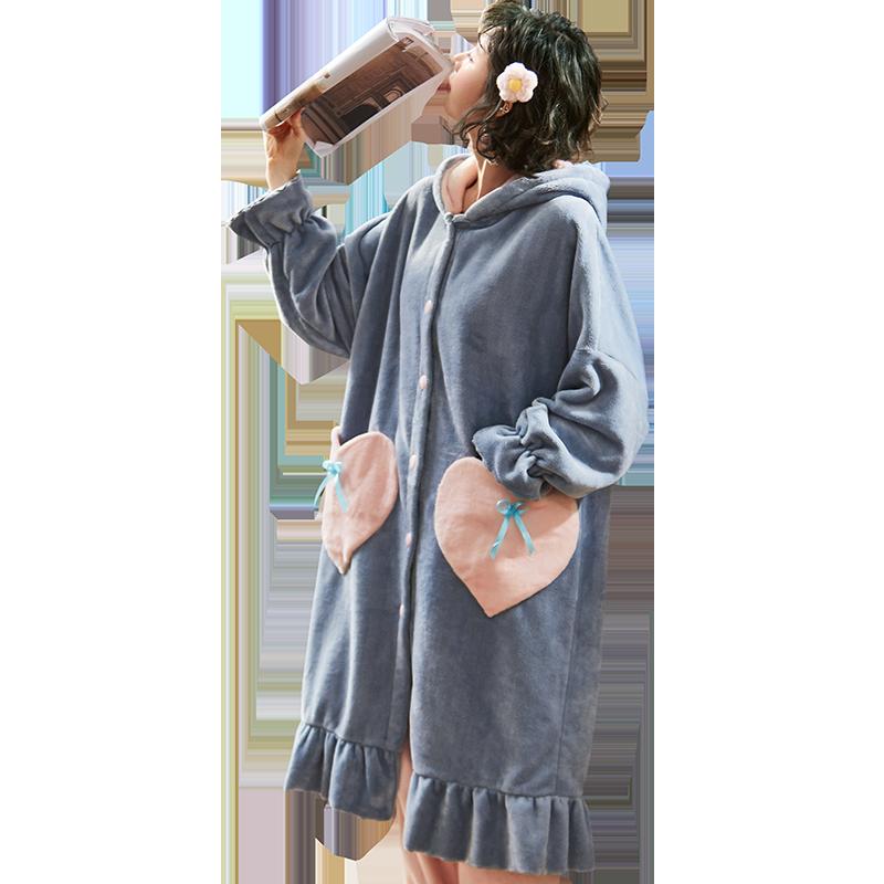 加厚长款珊瑚绒睡袍裤子两件套装