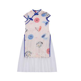 女童旗袍夏季2020洋氣公主裙漢服連衣裙兒童長款小女孩改良旗袍裙