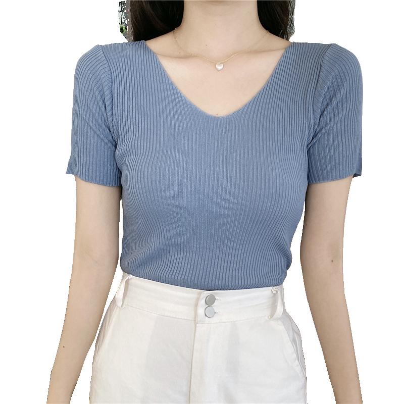 V领冰丝针织衫短袖T恤女2020新款夏短款修身显瘦薄款套头百搭上衣
