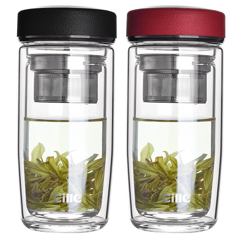 希乐双层玻璃杯便携泡茶水杯�男士家用带盖茶⌒ 杯女士办公杯子带过滤