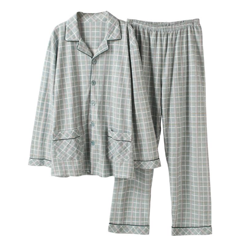 南极人男士睡衣春秋季纯棉长袖大码全棉薄款秋冬可外穿家居服套装