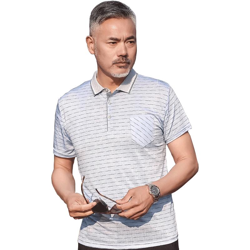 爸爸短袖t恤男夏40-50岁中年男夏装半袖冰丝翻领中老年人休闲宽松
