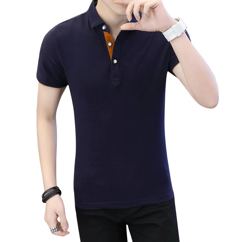 POLO衫男短袖体恤春夏季男士纯色修身半袖保罗衫衣服翻领T恤男XH