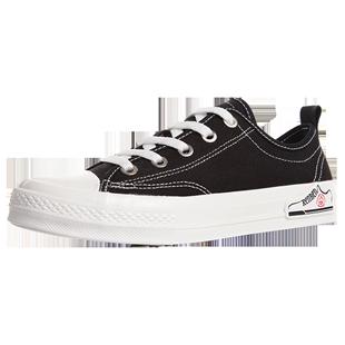 人本黑色帆布鞋男韓版百搭休閒球鞋2020新款小黑鞋港風小白鞋子