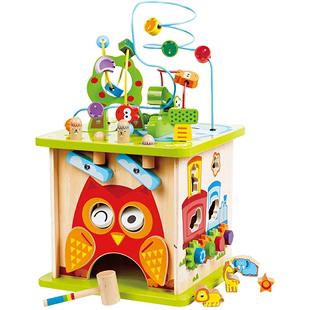 Hape開心農場大號繞珠 兒童串珠百寶箱寶寶1-2-3週歲嬰兒益智玩具