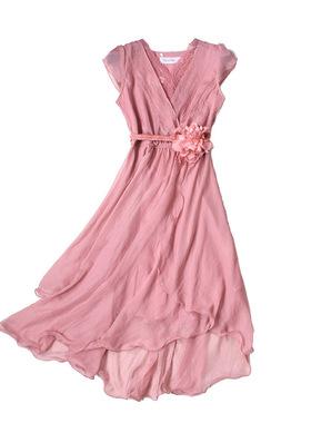 有女人味的蕾丝雪纺连衣裙2021中长款韩版气质收腰显瘦不规则长裙