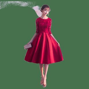 結婚敬酒服新娘晚禮服平時可穿2020新款酒紅色孕婦連衣裙小個子女
