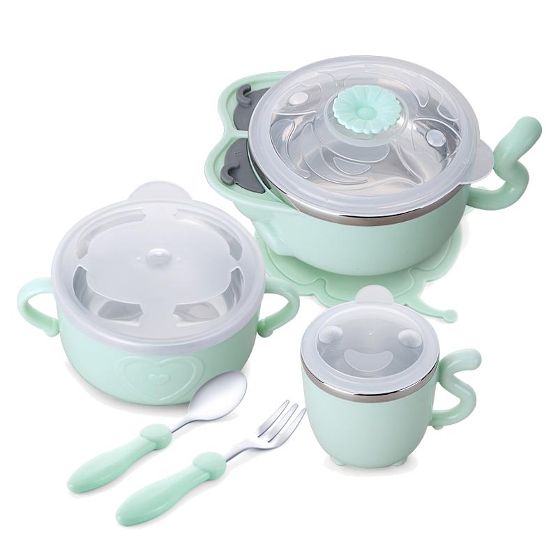 婴儿辅食碗儿童碗防摔防烫家用不锈钢卡通宝宝吃饭碗勺套装可爱
