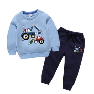 春秋款兒童衞衣套裝男童衣服挖掘機孩子寶寶兩件套純棉洋氣春天潮
