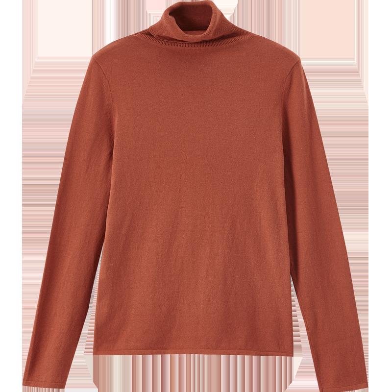 茵曼高领毛衣女修身内搭纯色打底衫2019秋冬长袖堆堆领套头针织衫-给呗网