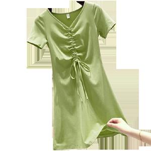 夏季韩版V领短袖修身收腰性感a字显瘦学生抽绳纯色含棉休闲连衣裙