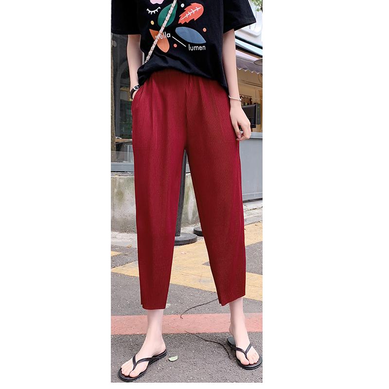 雪纺阔腿裤女夏季垂感高腰百褶奶奶裤