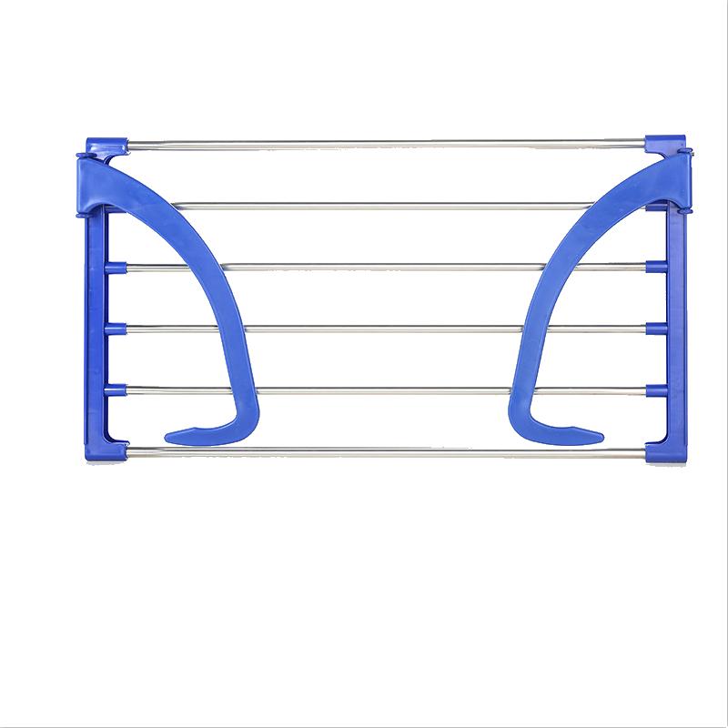 不锈钢小型阳台护栏晾衣架窗外可挂晒鞋架防盗网窗户挂架室外神器