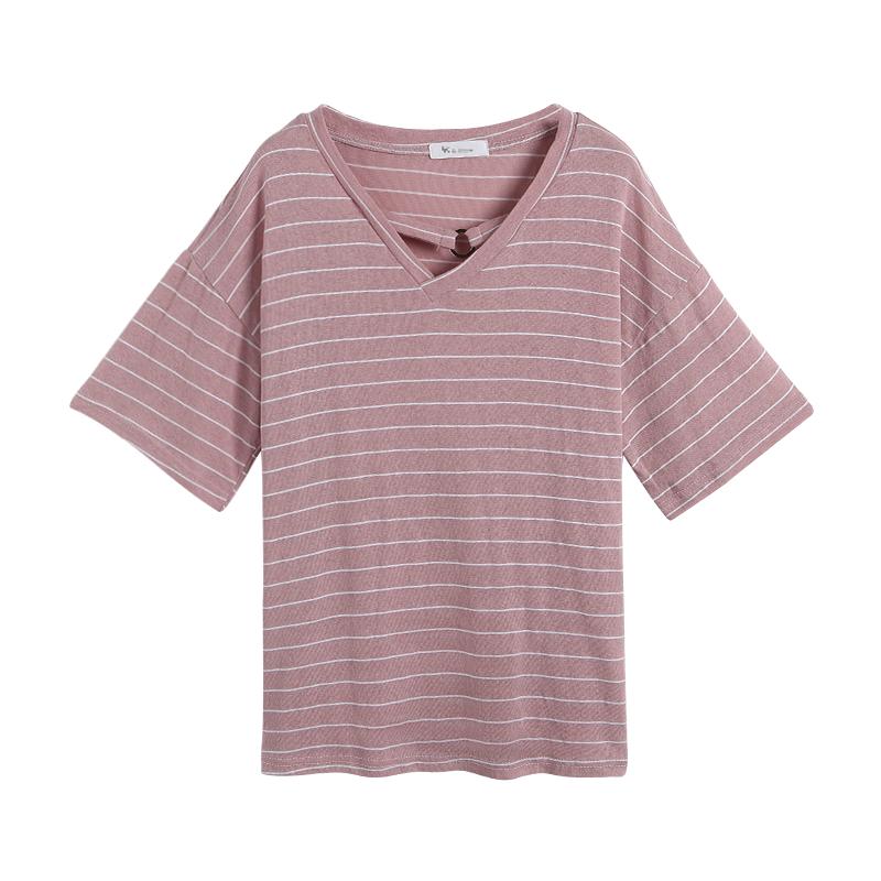 2019年夏天新款细横条纹粉色V领短袖宽松T恤女百搭韩版显瘦chic火