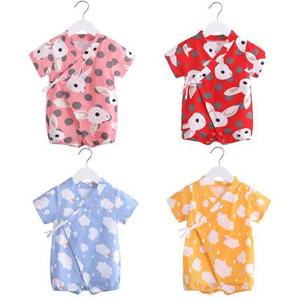 婴儿夏季和尚服短袖纯棉0到连体衣