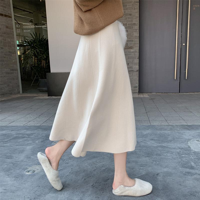 2020秋冬中长款高腰A字毛线裙子