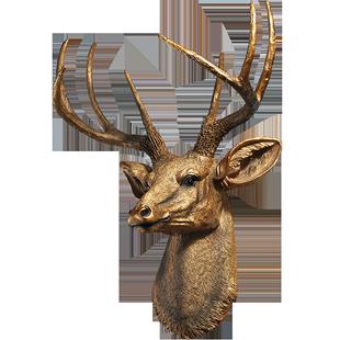 美式鹿頭壁掛裝飾品創意牆面掛飾復古客廳仿真背景牆壁動物頭掛件