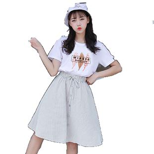 雪紡套裝裙子少女生夏裝2020新款初中高中學生韓版半身裙兩件套