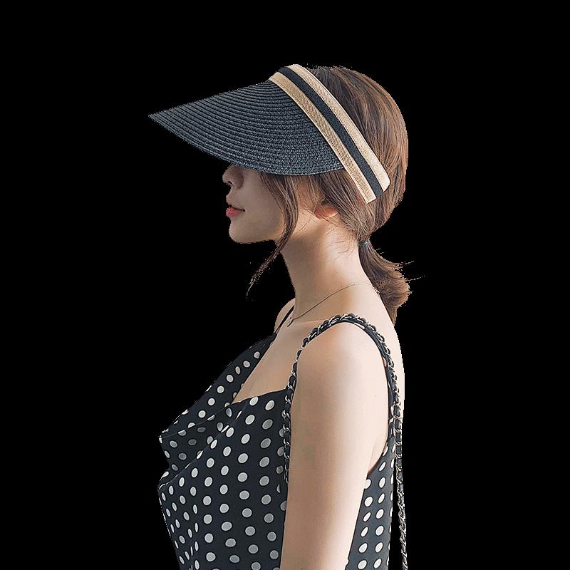 度孜  空顶帽草帽女士无顶遮阳帽帽子女夏空顶防晒网红发夹帽遮