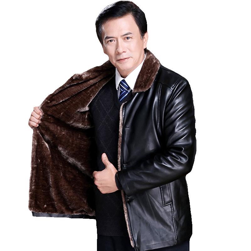高质量冬季中年休闲中老年人皮夹克