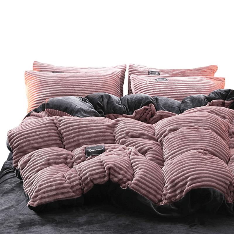情侣床单双面魔法水晶绒被套四件套冬季珊瑚绒宿舍三件套床上用品