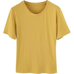 莫代爾短袖t恤女寬鬆夏季ins潮網紅白色時尚洋氣韓版純色女士體恤
