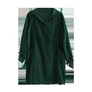 燈芯絨連衣裙秋冬款女長袖高端氣質復古寬鬆中長款休閒裙條絨裙子