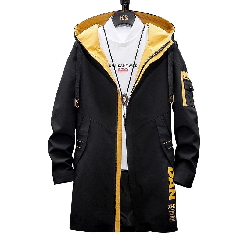 2020春秋季新款纯色连帽男士中长款夹克上衣男装休闲外套韩版衣服