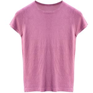 冰丝纯色短袖针织衫夏薄款韩版t恤