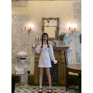 桃可了◆夏季法式復古白色收腰顯瘦吊帶短裙綁帶chocker連衣裙女