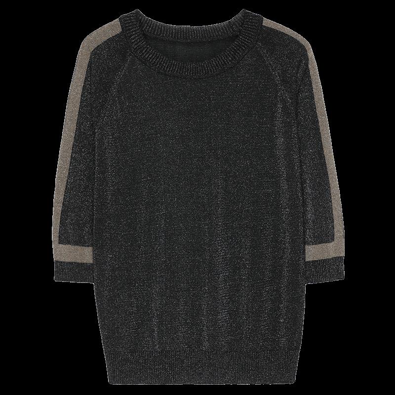 春夏2019年新款女装潮薄款闪光丝中袖上衣洋气冰丝针织打底衫