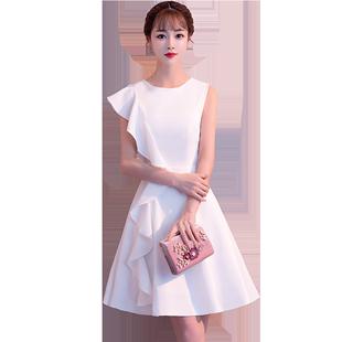 洋裝小禮服2020新款高貴氣質白色短款宴會伴娘服連衣裙女簡單大方