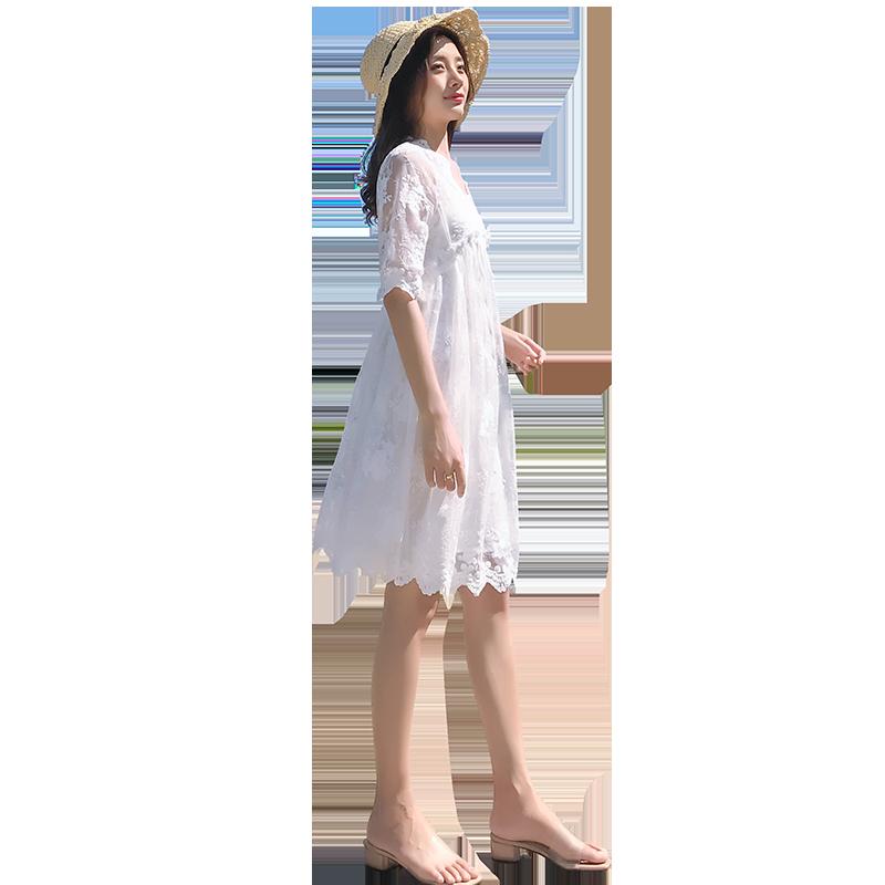 蕾丝网纱裙夏季2019新款女装中长款收腰显瘦超仙女裙子白色连衣裙