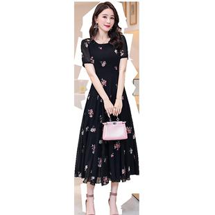 夏季碎花雪纺连衣裙女2019新款短袖气质收腰长款女人夏天流行裙子