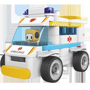 百變布魯可救護車拼裝布魯克玩具男女孩兒童益智大顆粒拼插積木車