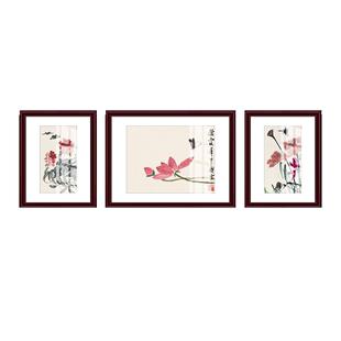 客廳裝飾畫新中式沙發背景牆掛畫三聯餐廳壁畫國畫齊白石水墨畫
